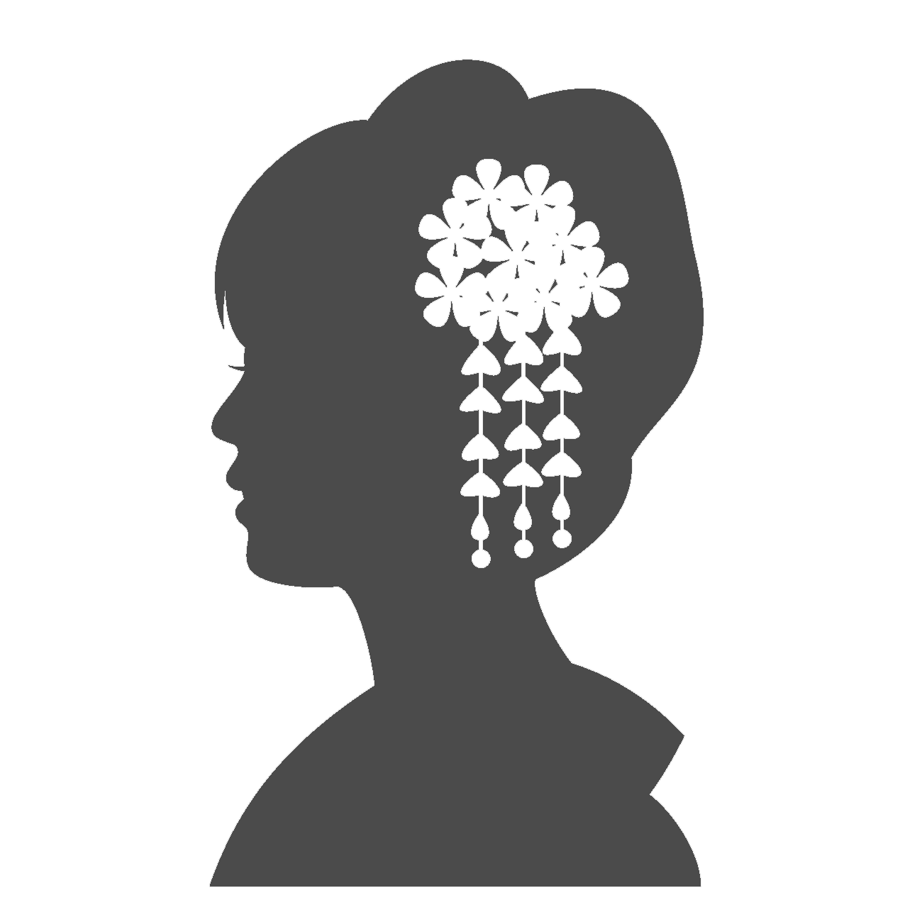 花の髪飾りをつけた女性の横顔のシルエット